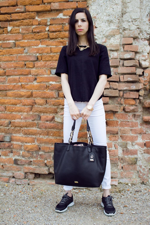 Black Zara outerwear Karl Lagerfeld tote bag