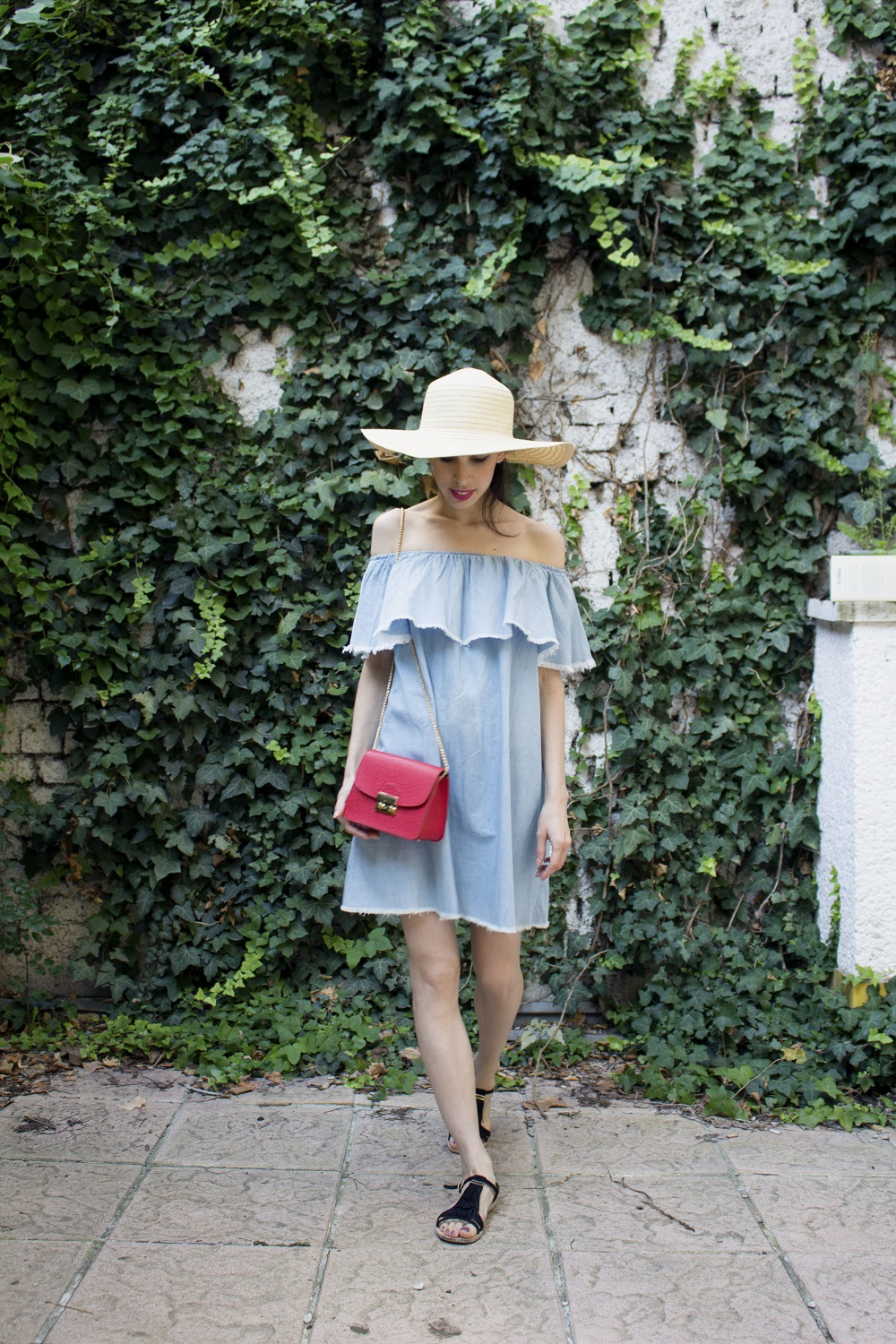 straw hat and off the shoulder dress
