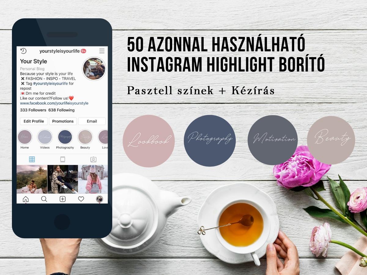 50 Instagram borító kézírásos betűvel pasztell színek