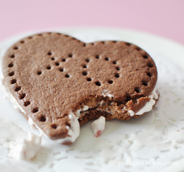 Heart Shaped Ice Cream Sandwiches