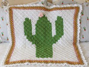 Crocheted C2C Cactus Baby Blanket