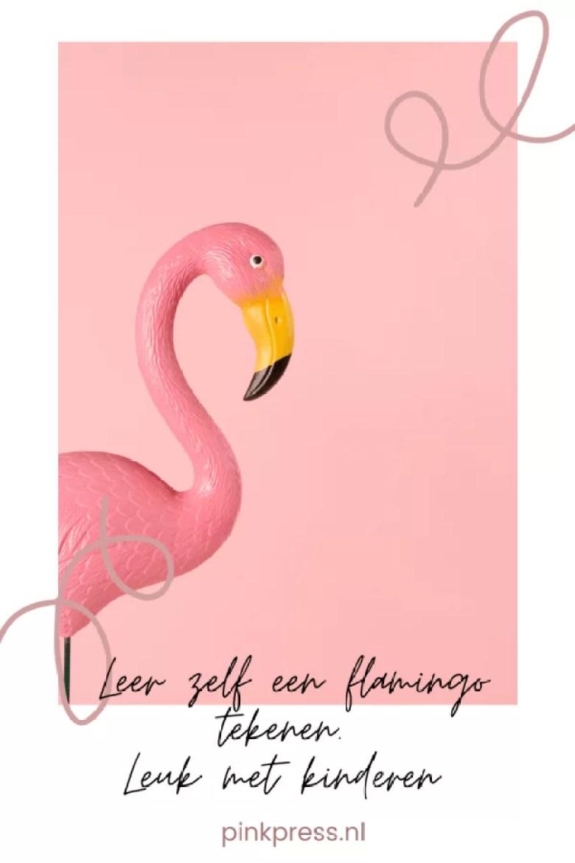 DIY Flamingo van pompoms en flamingo zelf tekenen