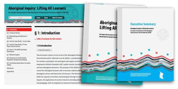 Design and typography of a report on the Aboriginal Enhancement Schools Network