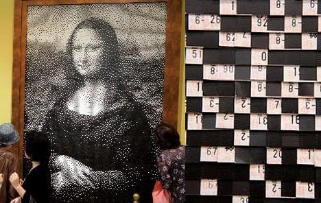 Mona Lisa made from train tickets --