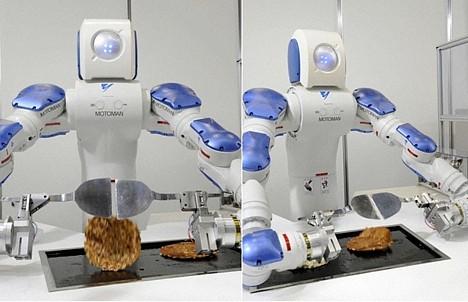 Motoman industrial robot cooks okonomiyaki  Pink Tentacle