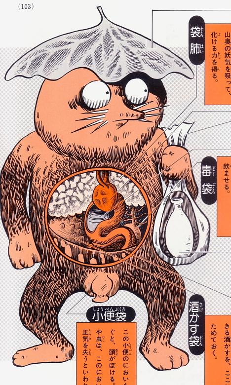 Fukurosage anatomical illustration from Shigeru Mizuki's Yokai Daizukai --