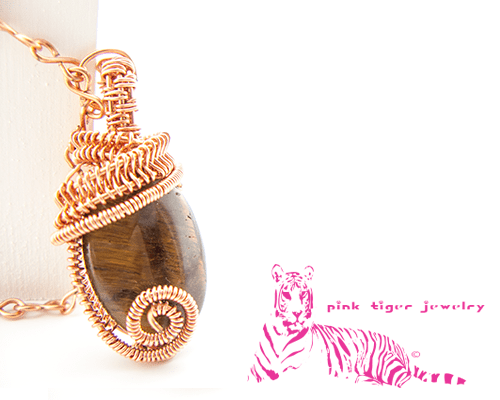 Tigers Eye Gemstone Pendant with Infinity Chain