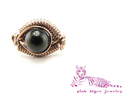 Antique Copper Black Agate Dragons Eye Ring