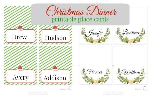 Christmas Table Name Cards Template Free Printable Christmas - Card template free: free printable christmas table place cards template