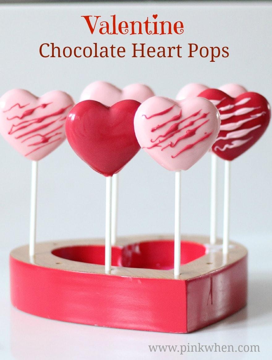 Easy Valentine Chocolate Heart Pops PinkWhen