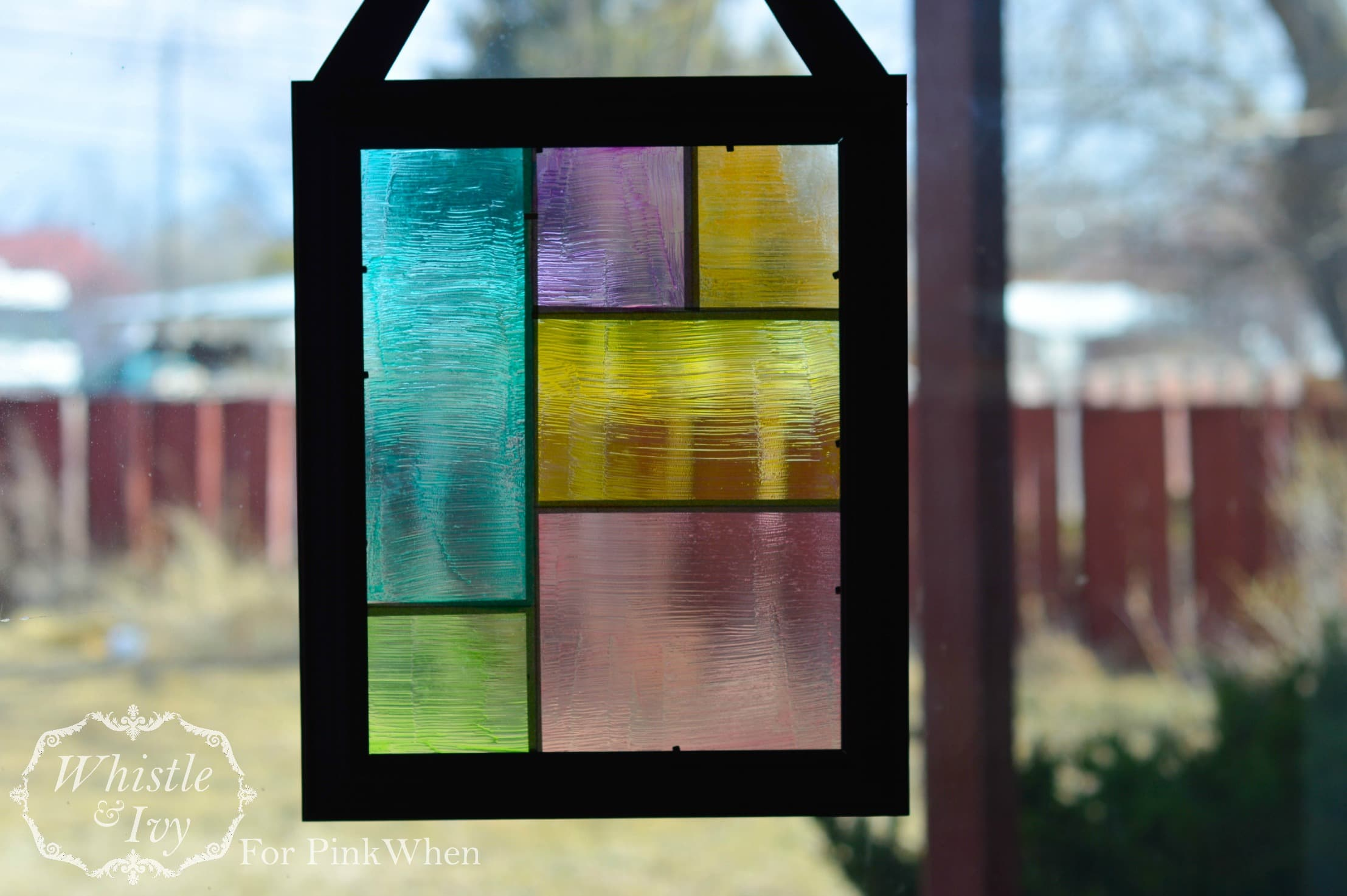 Faux Stained Glass Suncatcher PinkWhen