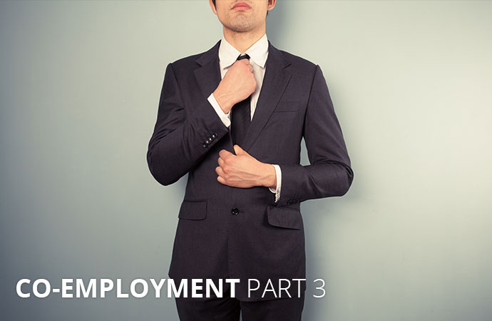 "Man in a suit with text: ""Co-Employment Part 3"""