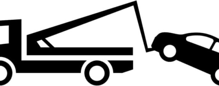Illustration of a tow truck towing a car