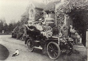 """""""Mr and Mrs Marshall and family in their car in Pinner 1904"""""""