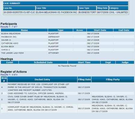 Il caso 30-2009-00293755-CU-BT-CJC all'esame della Corte superiore della Contea di Orange