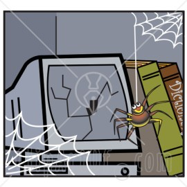 15865-Happy-Little-Spider-Hanging-Down-From-A-Web-In-Front-Of-A-Broken-Computer-Screen-Clipart-Illustration