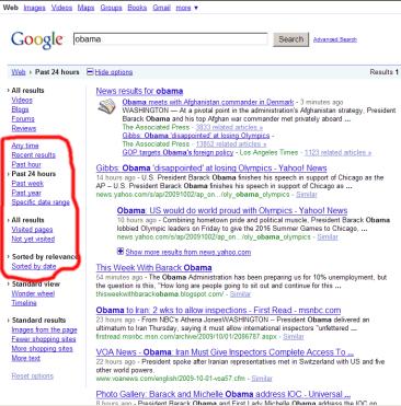 Le nuove funzioni di ricerca di Google sulla barra laterale sinistra