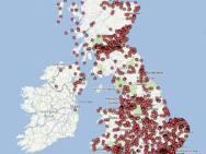 Ogni puntino rosso corrisponde a una proprietà del Governo britannico
