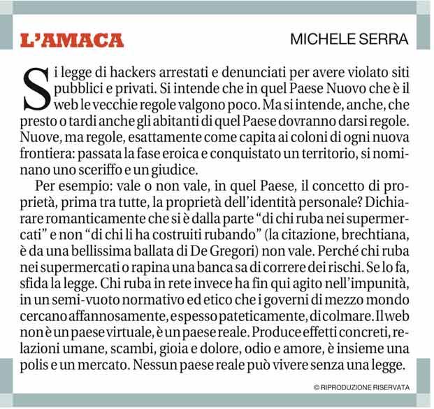 L'Amaca di Michele Serra il 18 maggio 2013