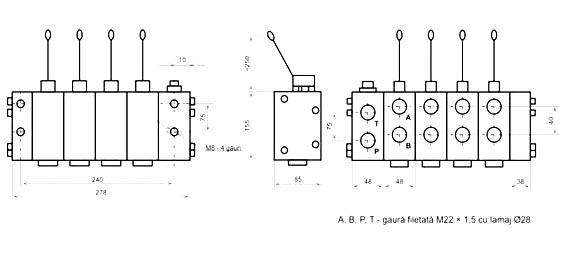 - Distribuitor hidraulic cu 4 sectiuni de distributie