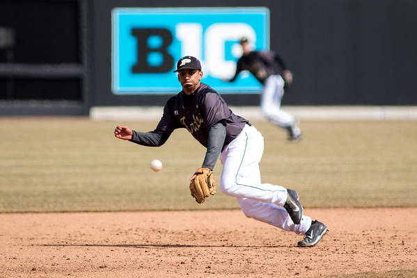 Purdue third baseman Brandon Krieg attempts to field a ball against Rutgers at Alexander Field