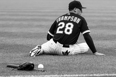Trayce Thompson warms up before the Chicago White Sox game against the Boston Red Sox on August 25, 2015