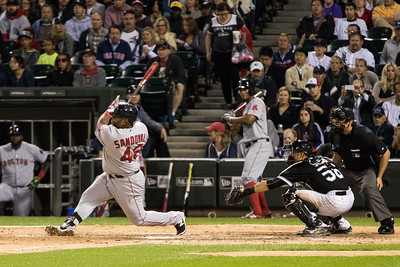 Pablo Sandoval hits double during the Chicago White Sox game against the Boston Red Sox on August 25, 2015