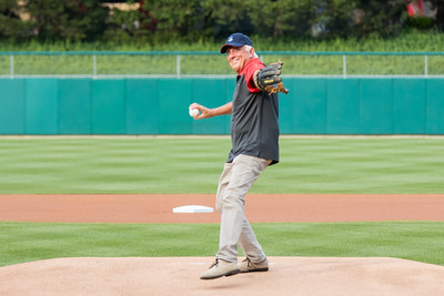 Baseball Hall of Famer Phil Niekro throws out the first pitch prior to the Indianapolis Indians game vs. the Charlotte Knights on August 1, 2015.