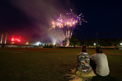 Fans watch fireworks after a Kokomo Jackrabbits game