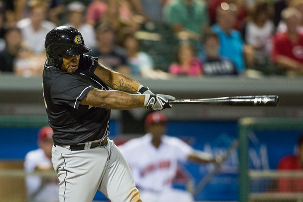 Dayan Viciedo bats during the Indianapolis Indians game against the Charlotte Knights on August 1, 2015