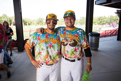 Chris Amato and Evan Warden pose before Jimmy Buffett night for the Kokomo Jackrabbits