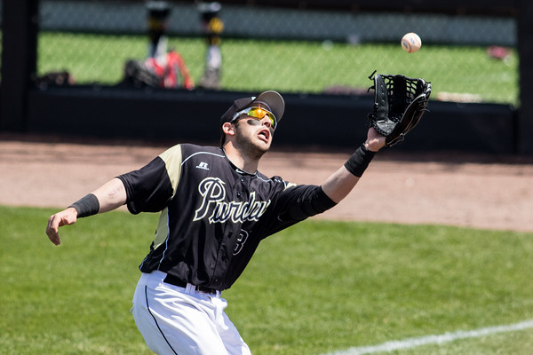 Jack Picchiotti catches a fly ball in foul territory during the Purdue baseball game against Maryland on April 26, 2015