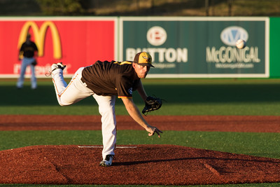 Kokomo Jackrabbits pitcher Bryce Rainey delivers a pitch during his start against the Hannibal Cavemen on July 31, 2015