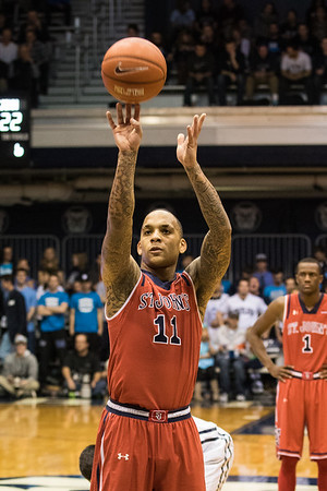 D'Angelo Harrison scores the 2,000th point of his career on a free throw during the first half of the St. John's game at Butler