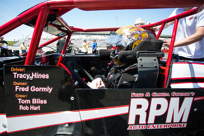 Tracy Hines prepares to race the Day Before the 500 race at Lucas Oil Raceway in Speedway, Indiana on May 23, 2015.