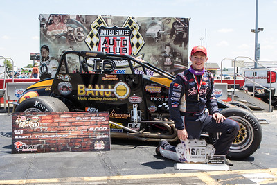 Tanner Swanson in Victory Lane following his win in the Day Before the 500 race at Lucas Oil Raceway in Speedway, Indiana on May 23, 2015.