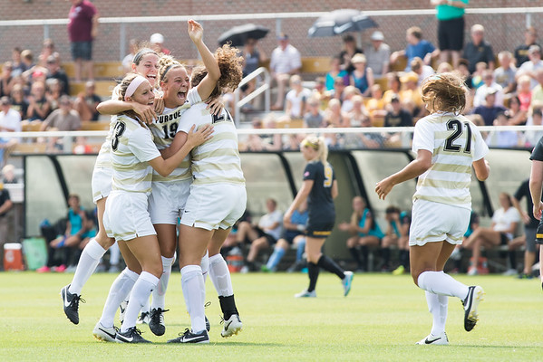 Andrea Petrina of Purdue University celebrates with teammates after scoring a goal in the first half against Missouri on August 30, 2015