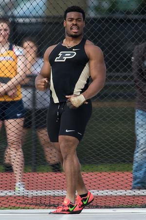 Chukwuebuka Enekwechi reacts to breaking the Purdue University record in the hammer throw