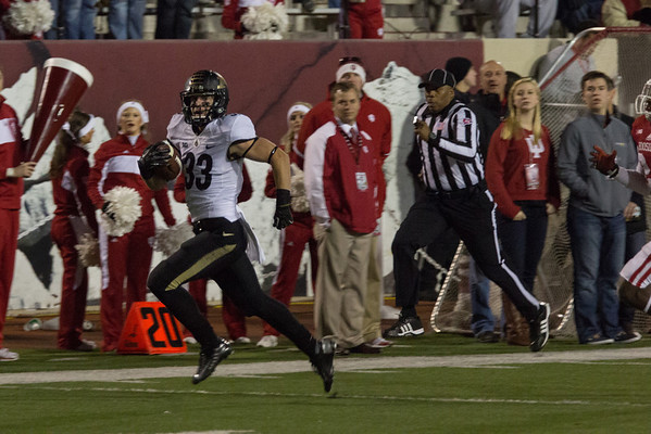 Danny Anthrop (33) runs for a touchdown during the third quarter of the Old Oaken Bucket game between the Purdue Boilermakers and the Indiana Hoosiers