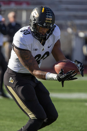 DeAngelo Yancey (80) warms up before the Old Oaken Bucket game between the Purdue Boilermakers and the Indiana Hoosiers
