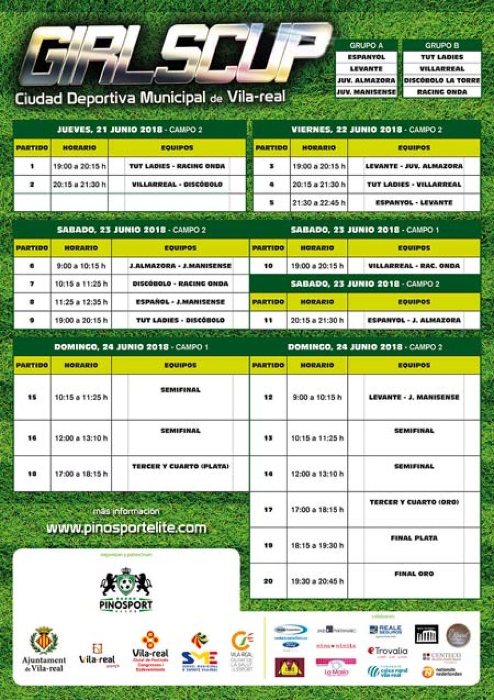 Tabla de partidos Girl Cup 2018