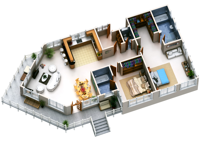 3d floor planpinoy eplans modern house designs small for Small house plan design 3d