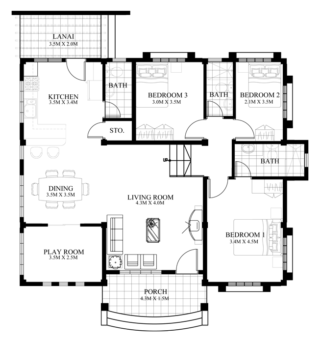 Small House Design 2014007 Floor Plan
