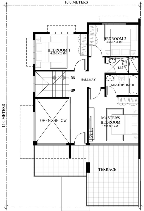 Prosperito single attached two story house design with for House floor plan with roof deck