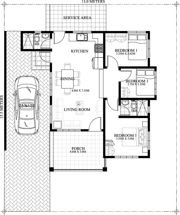 Small house floor plan jerica pinoy eplans for Area of a floor plan