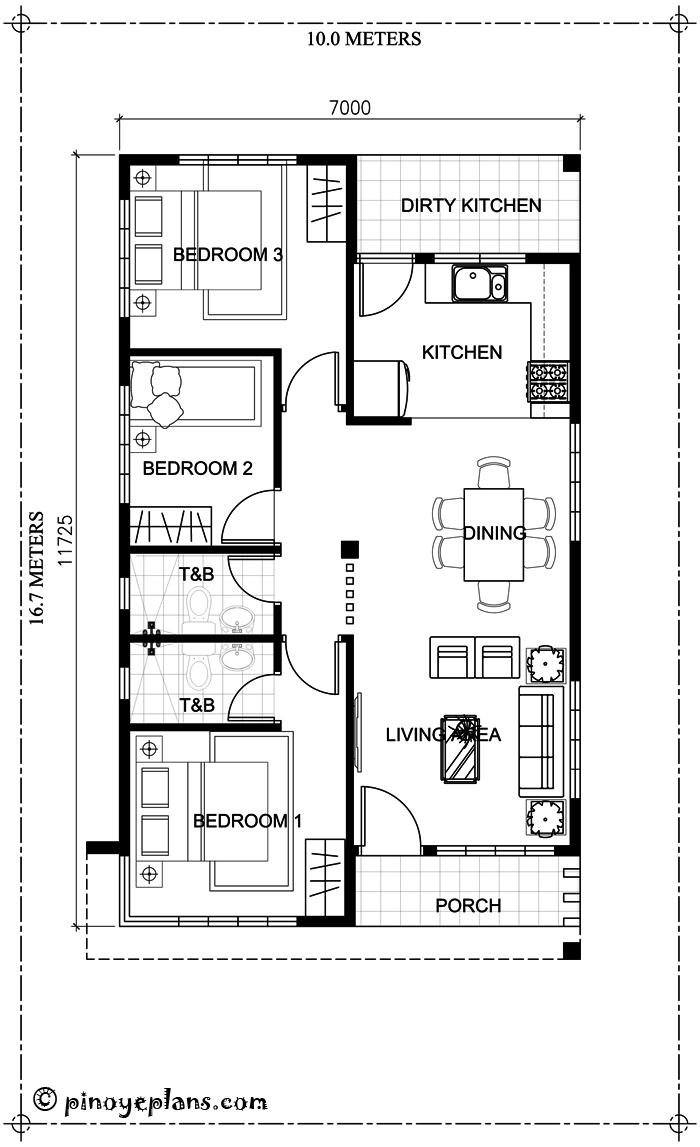 three bedroom bungalow house plan  shd