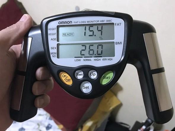 Omron Fat Loss Monitor HBF-306C sample result