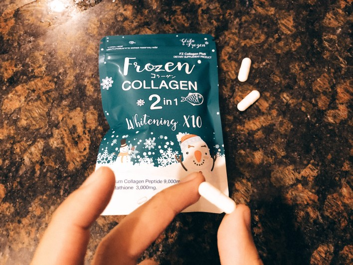 Frozen Collagen review: the look of the white capsule.