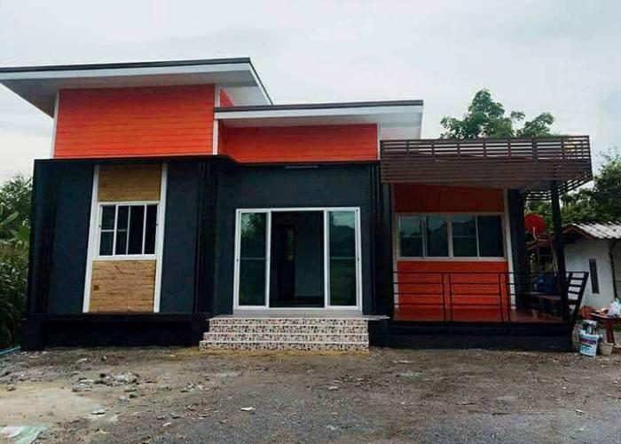 black and orange three bedroom house