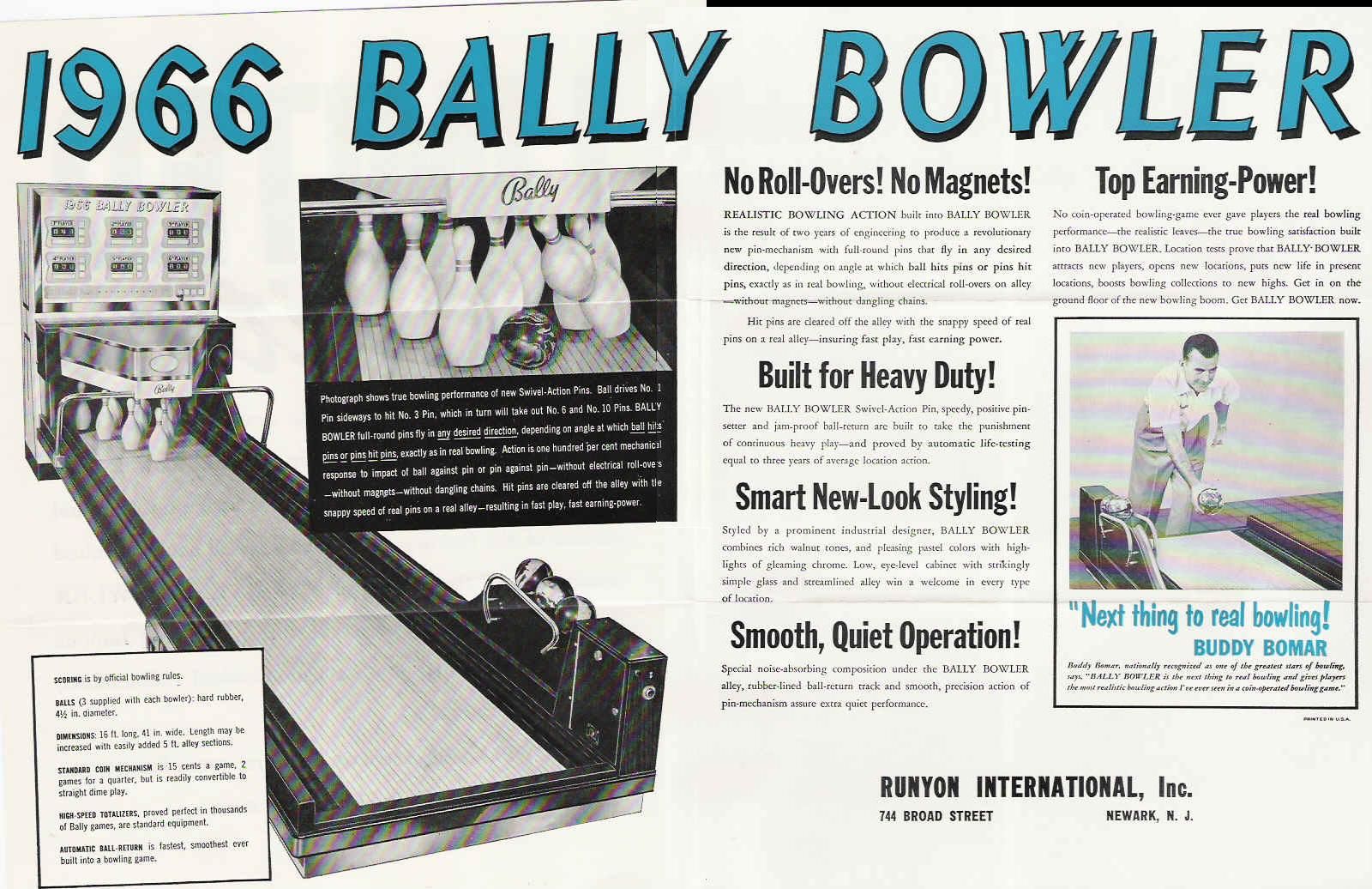 hight resolution of  1969 bally bowler these three games used a unique swivel action reciprocating pins which allowed the pins to move in any direction not just